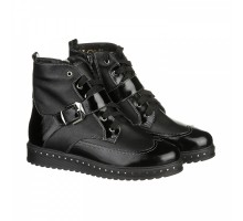 Кожаные ботинки с лаковыми вставками КИРА1164-vm-0515-19