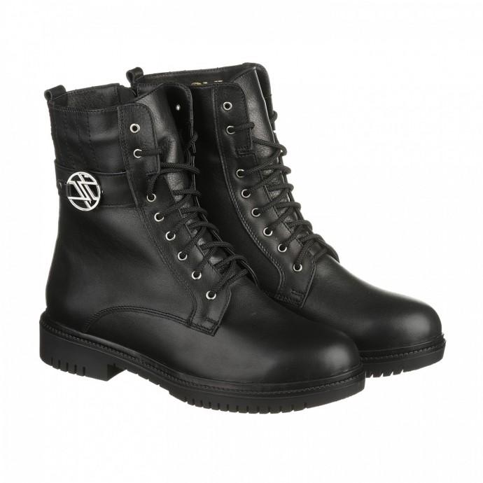 Зимние кожаные ботинки черного цвета КИРА1163-vm-kim-01