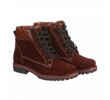 Зимние ботинки бордового цвета из замши КИРА1167-vm-astra-09b