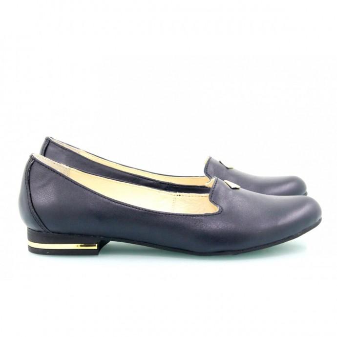 Кожаные синие балетки КИРА1-1012-02С
