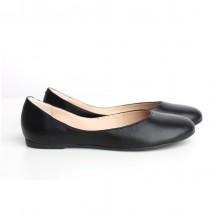 Кожаные черные балетки КИРА1-29022