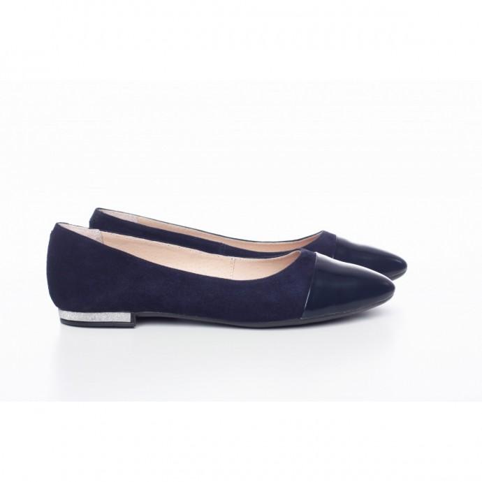 Замшевые синие балетки КИРА1-0016-12С