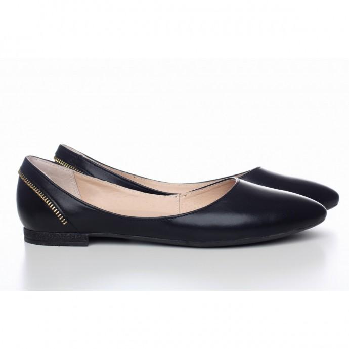 Черные балетки из натуральной кожи КИРА1-0016-01