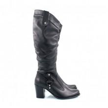 Кожаные сапоги на каблуках КИРА11-6007-08З