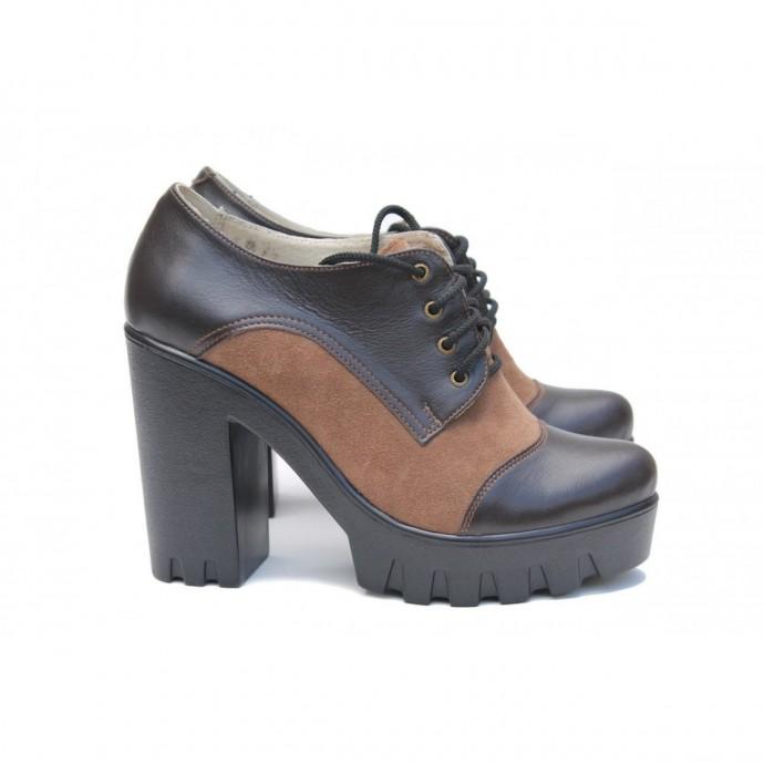 Кожаные туфли на каблуке КИРА2077-818-10K