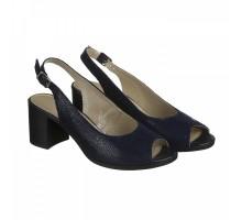 Синие кожаные босоножки на каблуке КИРА11124-6015-15s