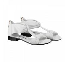 Белые кожаные босоножки КИРА11156-217-04