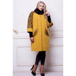 Зимнее пальто флок горцича АВВО569-2