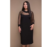 Платье декорированное сеткой ВЕТА черное САДМ801