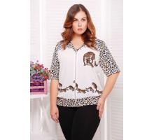 Блузон с леопардовым принтом цвет белый ЛЕОНА САД266018