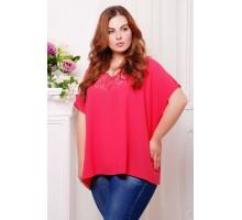 Блуза с перфорацией МИРАНДА ярко-розовый САД266023