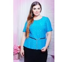 Блуза из гипюра ПАУЛА голубой САД266026