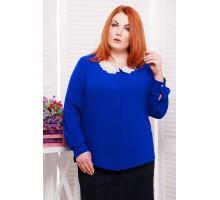 Блуза с воротничком из шитья цвет синий ЭДИТ САД266017