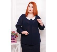 Блуза с воротничком из шитья цвет темно-синий ЭДИТ САД266016