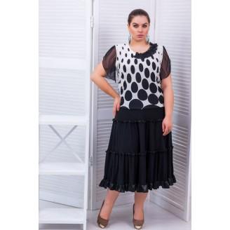 Трехъярусная юбка с рюшами цвет черный  АЛИНА САД255064