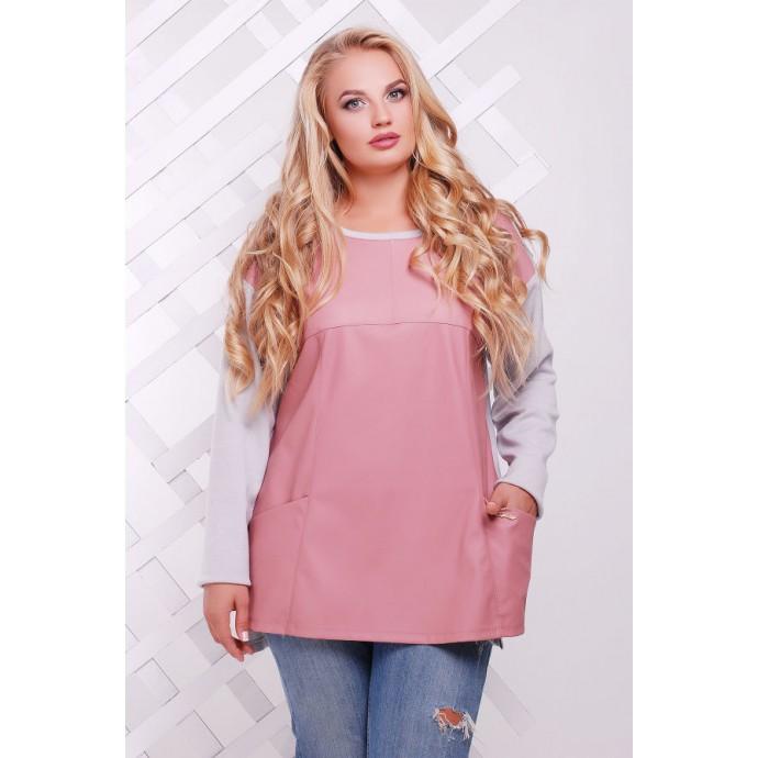 Джемпер из ангоры и эко-кожи розовый  КЭЛЛИ САД266062