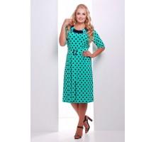 Платье с атласной отделкой цвет бирюзовый  СИЛЬВИЯ САД47