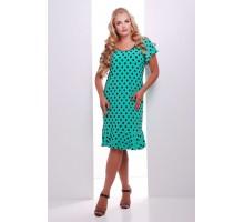 Платье бирюзовое в горошек с воланом  ЭЛА САД45