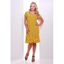 Платье желтое в горошек с воланом  ЭЛА САД46