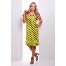 Платье лимонное в горошек с воланом  ЭЛА САД44