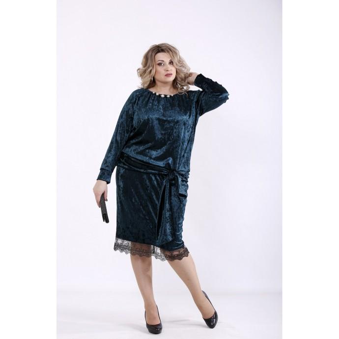 Платье зеленое велюр ккк7776-01364-2