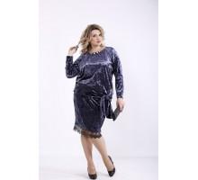 Велюровое платье антрацит ккк7771-01364-3