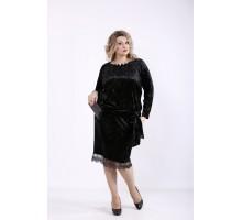 Черное велюровое платье ккк7773-01364-1