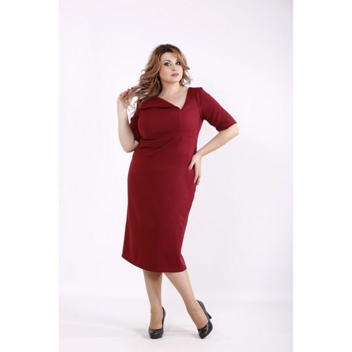 Бордовое стильное платье ККК6668-01248-2