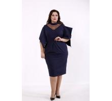 Синее платье летучая мышь КККD14-01744-1