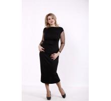 Черная блузка с прозрачными рукавами КККD18-01741-1
