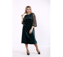 Зеленое велюровое платье с сеткой КККD22-01739-3