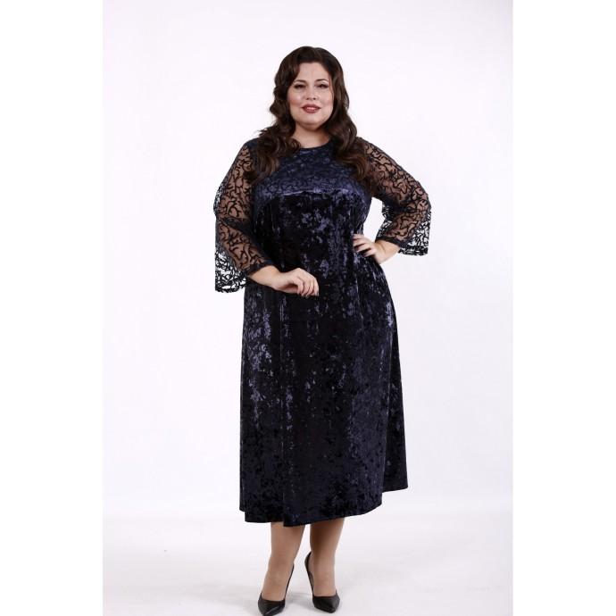 Синее велюровое платье с сеткой КККD23-01739-2