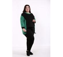 Спортивный костюм черный с зеленым КККD33-01735-2