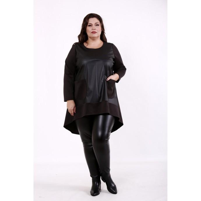 Блузка черная эко-кожа КККD36-01734-1