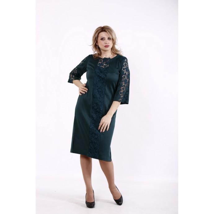 Зеленое платье с макраме КККD37-01733-3