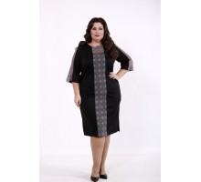 Черное платье макраме серое КККD39-01733-1