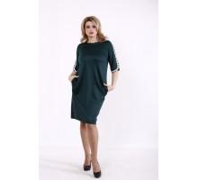 Темно-зеленое прямое платье КККD40-01732-3
