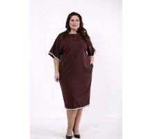 Шоколадное свободное платье КККD45-01731-1