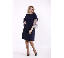 Темно-синее однотонное платье КККD46-01730-3