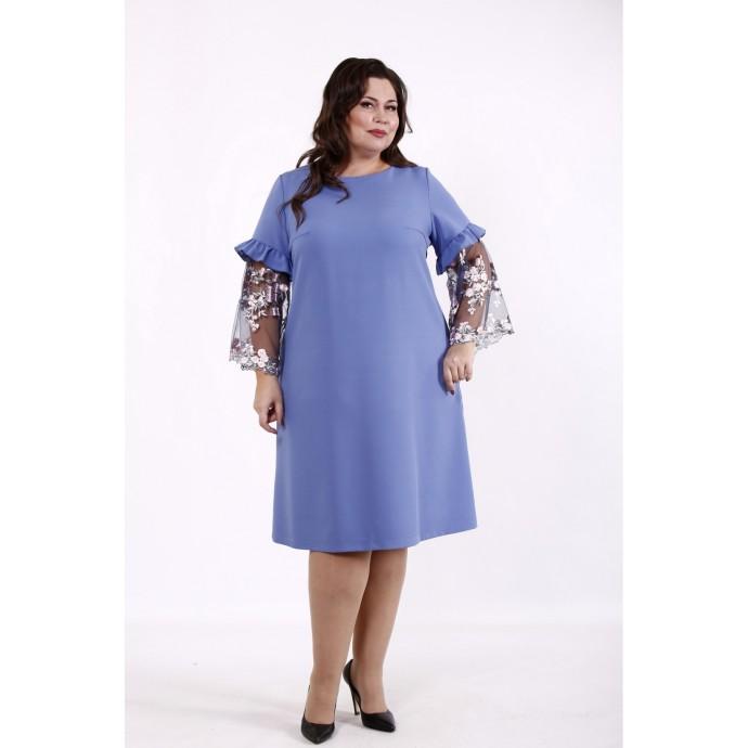 Голубое однотонное платье КККD47-01730-2