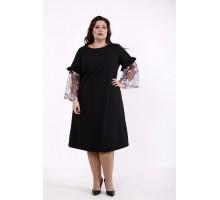 Черное однотонное платье КККD48-01730-1