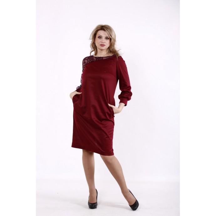 Бордовое асимметричное платье КККD49-01729-3