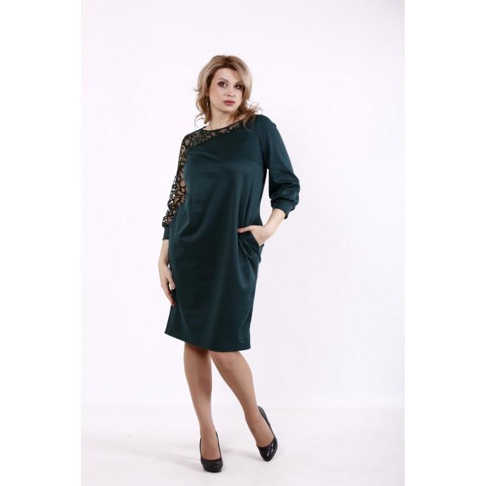 Зеленое асимметричное платье КККD50-01729-2