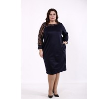 Синее асимметричное платье КККD51-01729-1