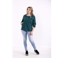 Зеленая льняная блузка КККD6-01746-3