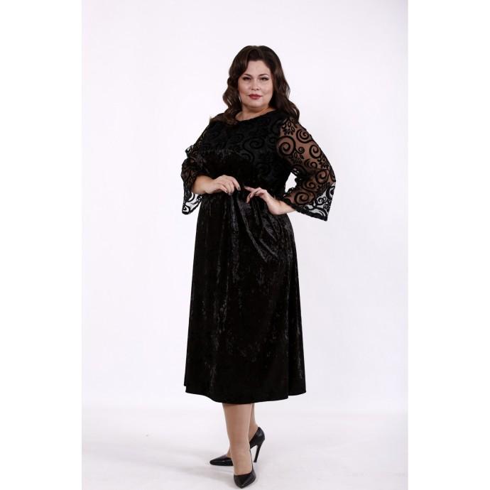 Черное велюровое платье с сеткой КККD24-01739-1