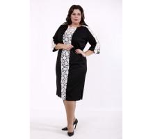 Черное платье макраме молоко КККD38-01733-2