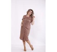 Платье-рубашка ниже колена мокко КККC0011-01516-1