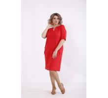 Простое коралловое платье из льна КККC0012-01515-3