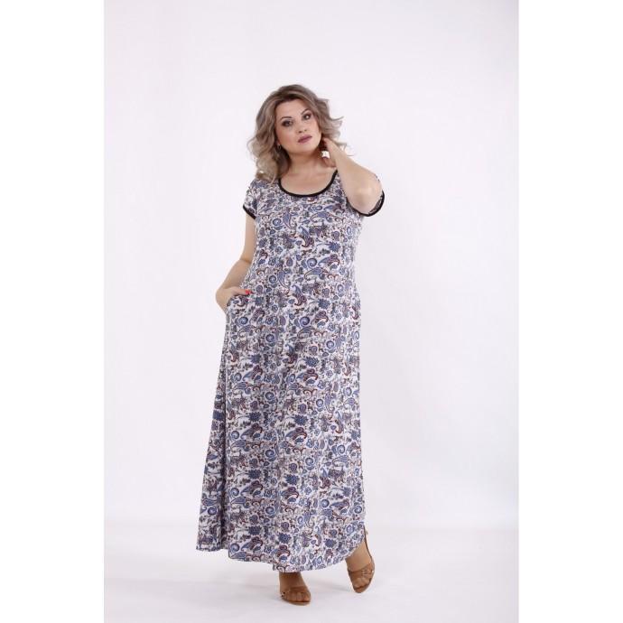 Длинное платье с синим принтом КККC0021-01512-3